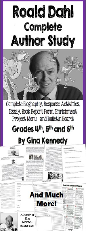 NO PREP! Thorough author study on Roald Dahl Complete biography, follow-up reading response questions and essays, book report, enrichment projects and bulletin board. Excellent thought provoking reading activities on this amazing author, plus a no-prep enrichment project menu! $