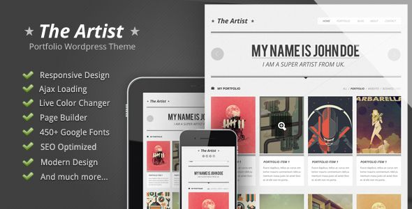 The Artist is a super awesome wordpress portfolio theme. It's very clean, sleek and modern design. With the admin panel and page builder in this theme, you can discover unlimited possibilities of what the theme can do. Moreover, responsive feature is applied as well. Now, you or your clients can explore your amazing works through phone or tablet easily ….so what you're waiting for?