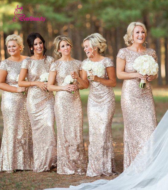 Champagne Lungo vestido longo Paillettes Manica Corta Piano Lunghezza Abito Da Damigella D'onore 2016 Vestito Da Promenade Wedding Party Dress