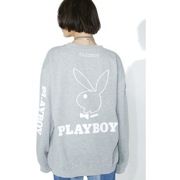 Vintage Heather Grey Playboy Crewneck ($220) ❤ liked on Polyvore featuring tops, sweaters, slouchy sweater, slouchy tops, heather grey sweater, crew-neck sweaters and crew neck sweaters