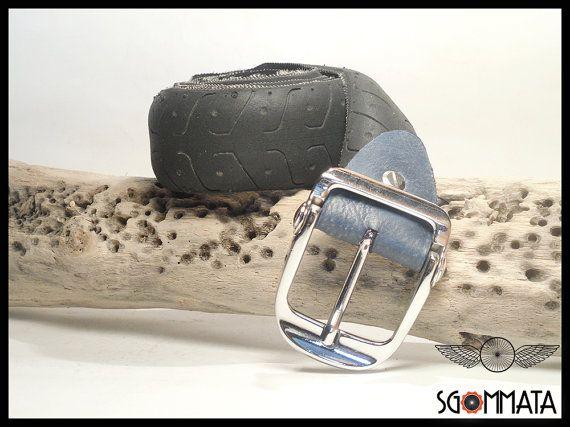 Cintura in copertone di bicicletta // fibbia metallo color argento lucido // reggi fibbia in pelle // fatta a mano in italia //  art. 033