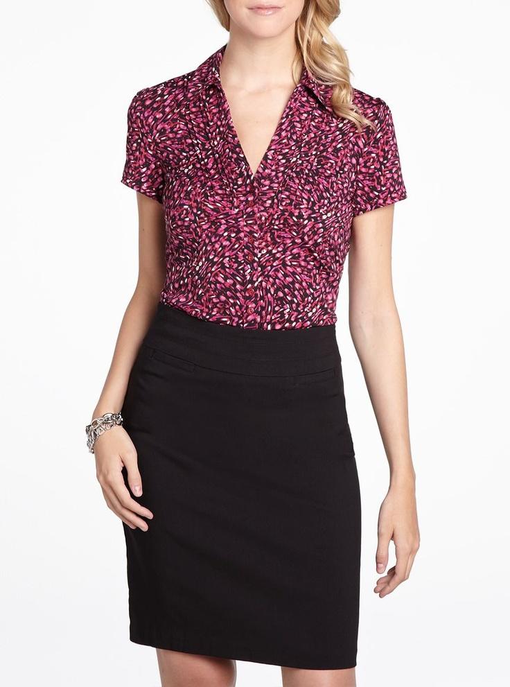 Printed short sleeve blouse in baroque rose, $12, Reitmans