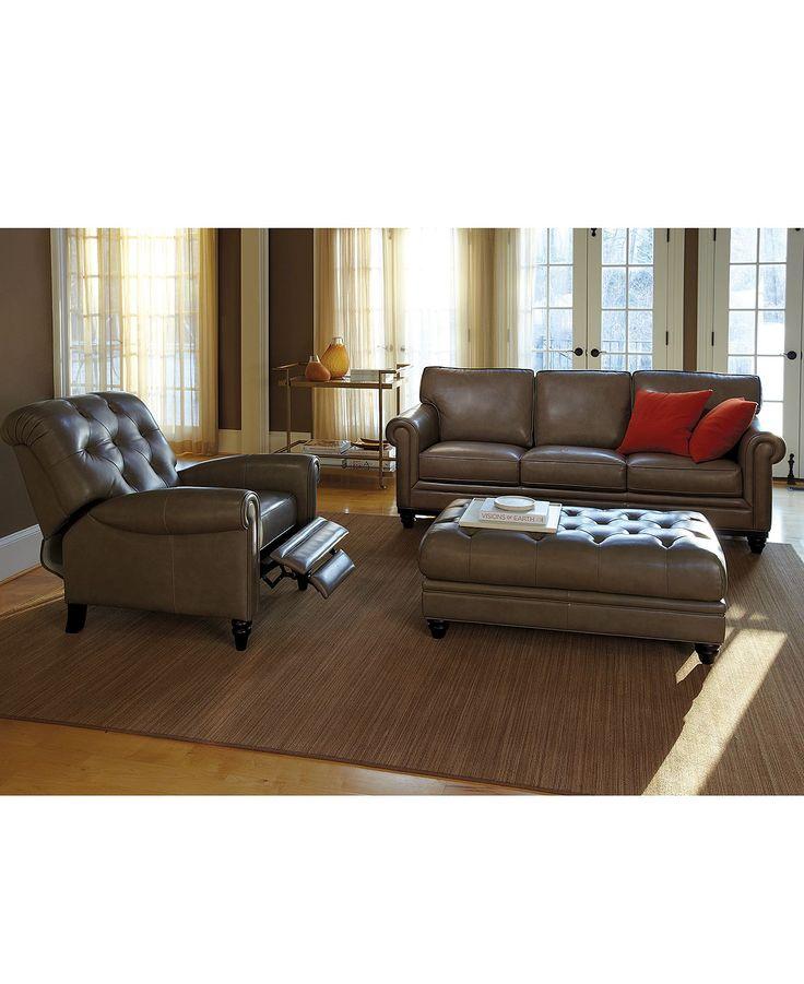 Martha Stewart Bradyn Leather Sofa Living Room Furniture Collection In  Marble   Furniture   Macyu0027s