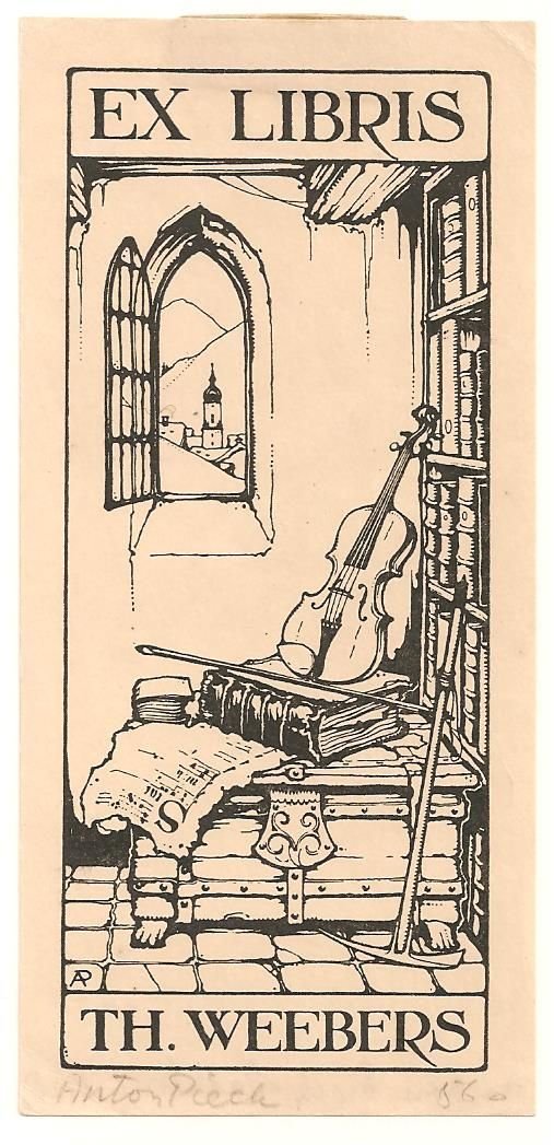 Anton Pieck (1895-1987), Dutch / bookplate for TH. Weebers ... depicts violin, bow and old book on chest beside bookshelf