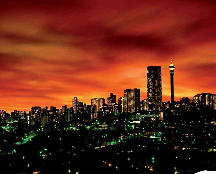 Johannesburg night skyline.