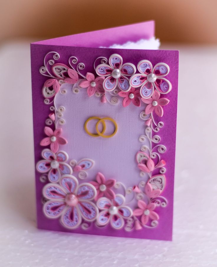 Wedding engagement quilling greeting card in rose colors with tiny flowers
