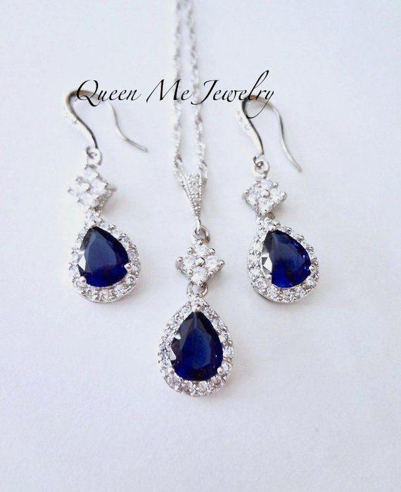 Sapphire Blue Cubic Zirconia CZ Royal Princess Formal Prom Bridal Necklace