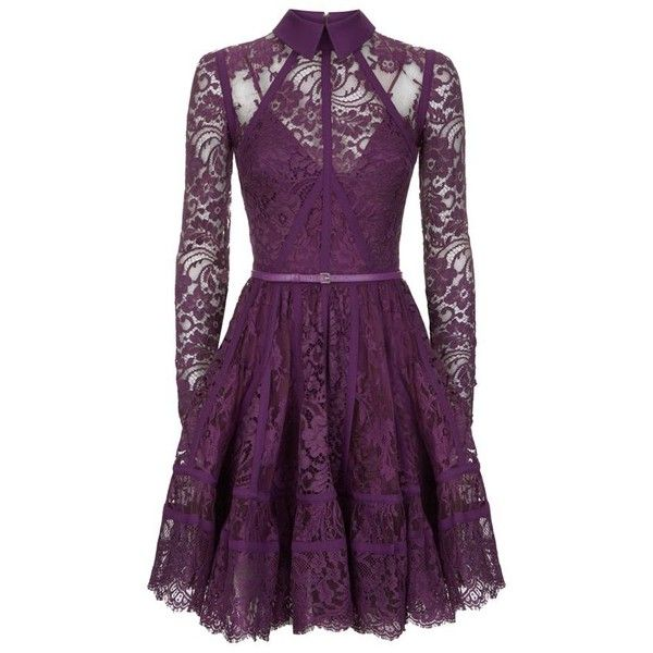 Elie Saab Lace Panel Mini Dress ($7,930) ❤ liked on Polyvore featuring dresses, short dresses, lace cocktail dress, floral fit and flare dress, lace dress and purple lace dress