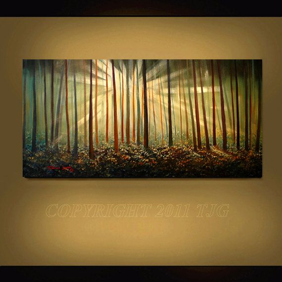 ORIGINAL PAINTING Abstract Landscape Sunset Trees Large 24X48 Gallery Wrap Canvas Fine Art By Thomas John (I REALLY want this painting for Christmas).  :)