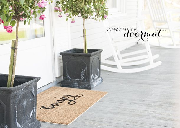 'Bonjour' Stenciled Doormat DIY - house of earnest