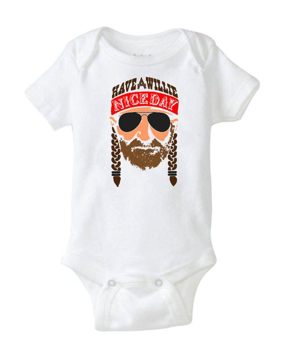This gift is always the hit of the baby shower.    Hand Printed with Permanent Pigment ink By Mountain Artisans in Appalachia.  This baby onesie is an image of a cartoon Willie Nelson.  This onesie is perfect for babies with parents who love country western music.  It makes a cool gift for a baby shower.  It's an essential item for any new baby's wardrobe.