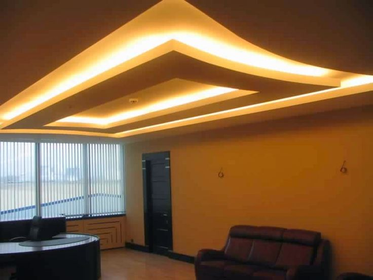 Gypsum Board False Ceiling Design With Hidden Lights For Living Room