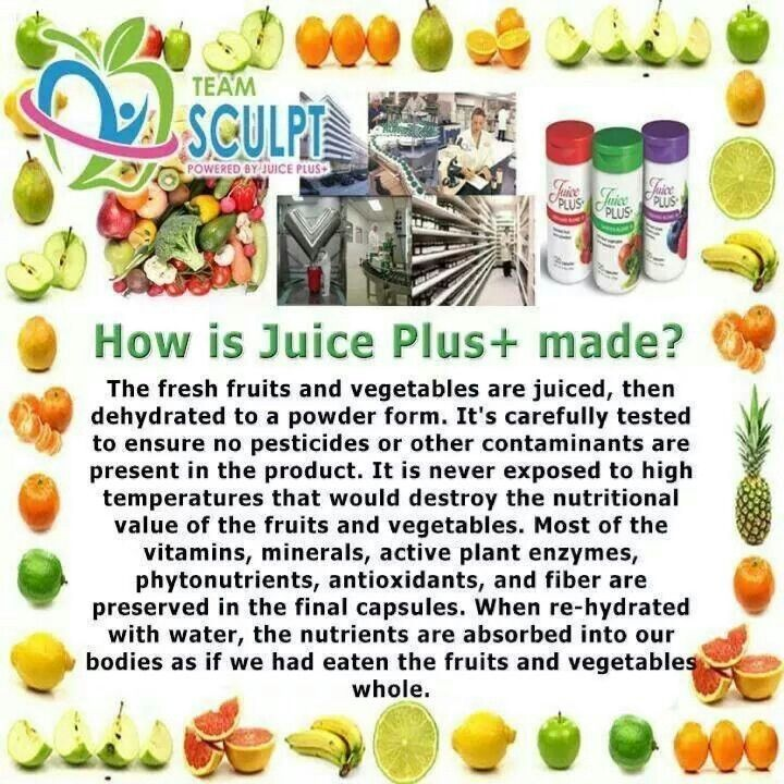 How is Juice Plus made? This illustration is a nice summary of how Juice Plus is made.