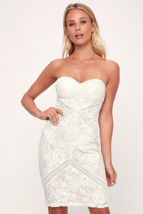63e707ed94d62 Let yourself fall for the Lulus Love Like This White and Nude Strapless  Lace Bodycon Dress! Floral lace covers the strapless sweetheart neck and  bodycon ...