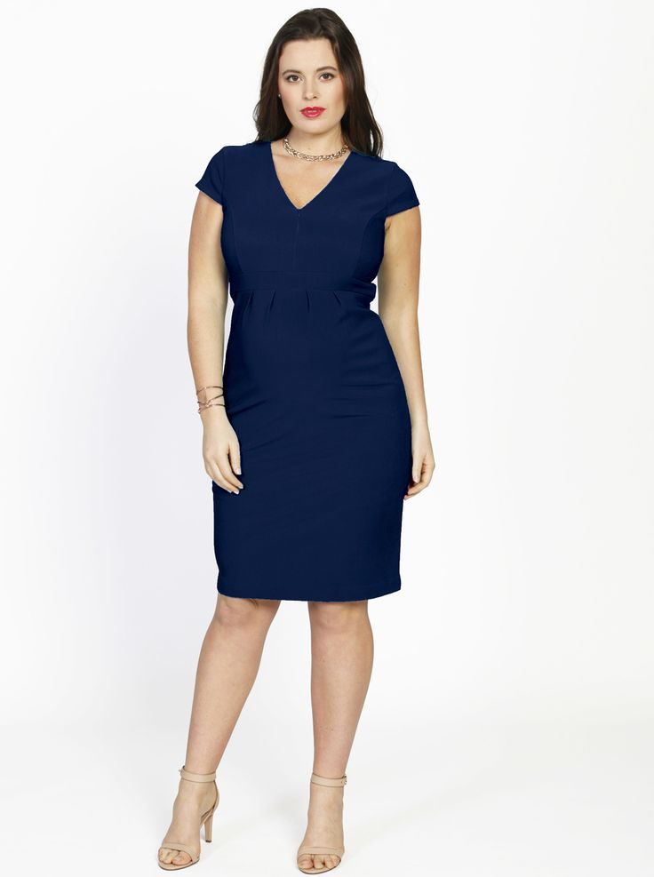 Short Sleeve Zipper Nursing Party Dress in Navy, $79.95, is great while you're pregnant and fantastic when you're  breastfeeding with  easy zipper opening nursing access.