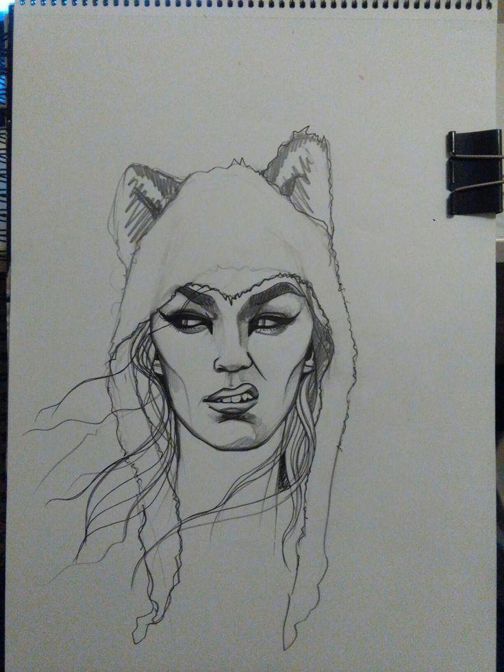 Spirit Animal by Jess Tobin #illustration #drawing #wolf #streetartist