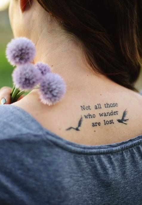 Not all who wander are lost tattoo cite kneck