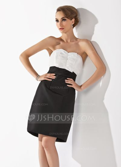 Bridesmaid Dresses - $89.99 - Sheath Sweetheart Knee-Length Taffeta Bridesmaid Dress With Ruffle (007004133) http://jjshouse.com/Sheath-Sweetheart-Knee-Length-Taffeta-Bridesmaid-Dress-With-Ruffle-007004133-g4133