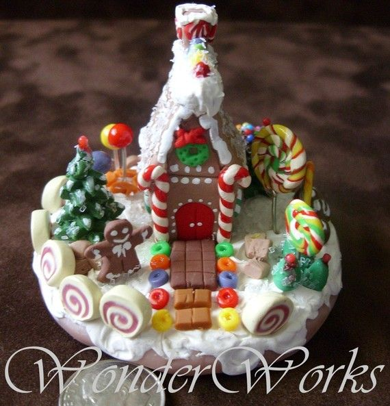 Classic Gingerbread House - Miniature Handmade One of a Kind Clay Sculpture…