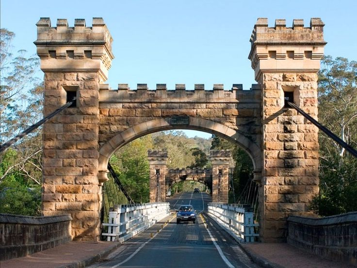 The bridge is Australia's last surviving wooden suspension bridge and has a special design with gothic Victorian sandstone towers that make it look like the entrance to a secret medieval castle.