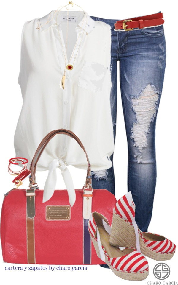 Polyvore fashion Jean outfit white pink and Jeans love