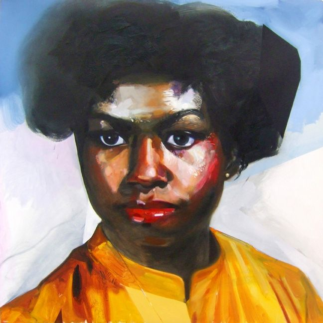 """Young Michelle Obama  30"""" x 30""""  oil on paper  2011"""