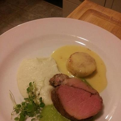 Roast Pork Medallion with Pea and Mint Sauce, Seared Scallop with Beurre Blanc served with Cauliflower Puree