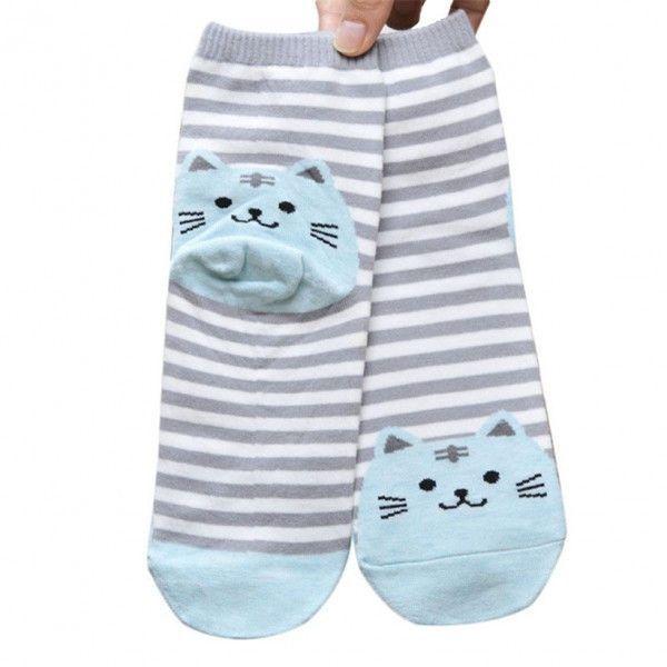 MEOW Striped Cartoon Cat Socks
