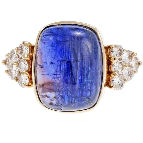 Preowned Blue Purple Tanzanite Diamond Gold Engagement Ring ($5,995) ❤ liked on Polyvore featuring jewelry, rings, engagement rings, purple, yellow gold diamond rings, pre owned engagement rings, blue diamond rings, purple diamond ring and round diamond ring