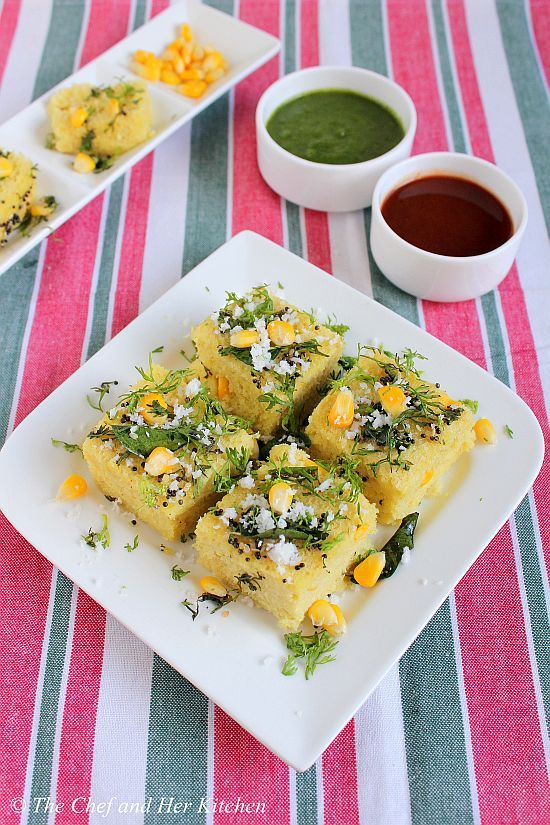 THE CHEF and HER KITCHEN: Moong Dal Corn Dhokla Recipe | Gujarati Snacks