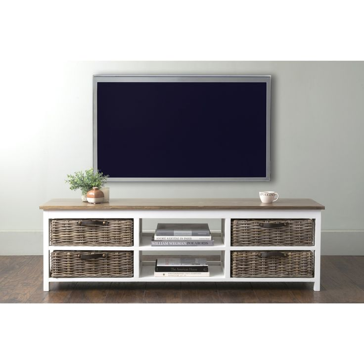 East At Main's Lovell White Rectangle Mahogany TV Stand (Lovell-406-WH)