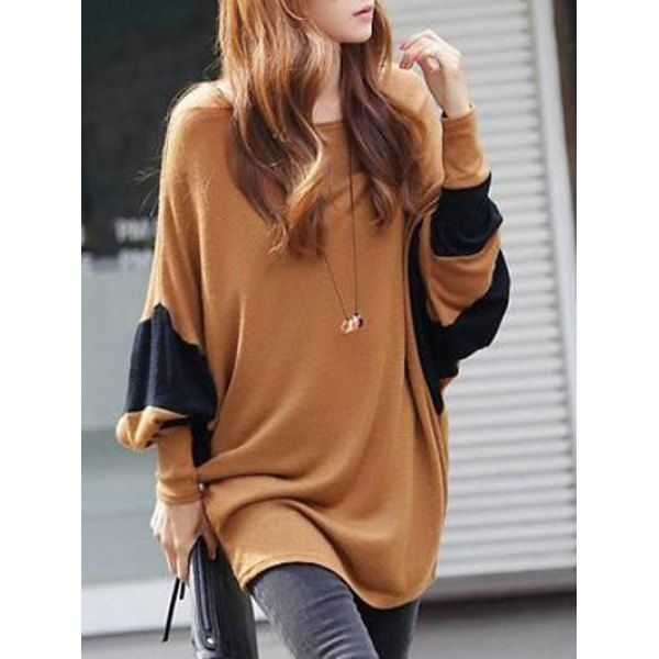 Loose-Fitting Contrast Patchwork T-Shirt (CAMEL,ONE SIZE) in Long Sleeves   DressLily.com