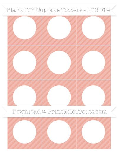 Pastel Coral Diagonal Striped  Blank DIY Cupcake Toppers
