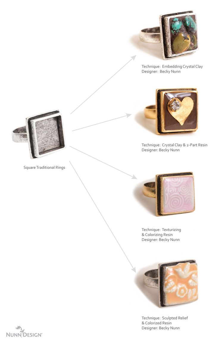 The bezels on the Nunn Design Adjustable Traditional Square Rings are cast in lead-free pewter and then soldered with lead-free solder onto a brass adjustable ring shank. Rings are plated in 24k gold or .999 fine silver. Made in the USA.