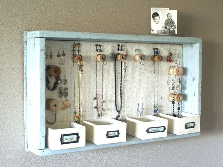 23 DIY Jewelry Displays! This may have possibly just saved my life... I like this one for behind the bathroom door on the wall. Accessible, yet not in your face.