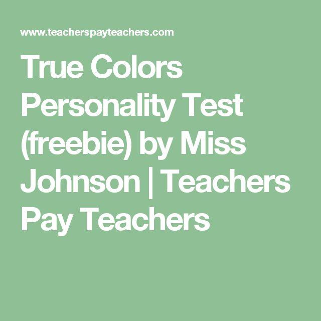True Colors Personality Test (freebie) by Miss Johnson | Teachers Pay Teachers