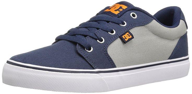 DC Men's Anvil TX Skateboarding Shoe, Navy/Orange, 10 M US