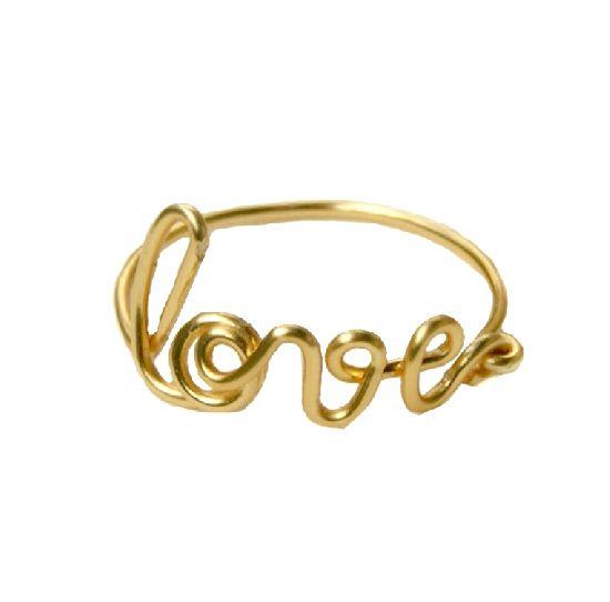 Inel Love, auriu, din sarma de cupru inoxidabila, gilt, by BanaDesigns, 12 Lei
