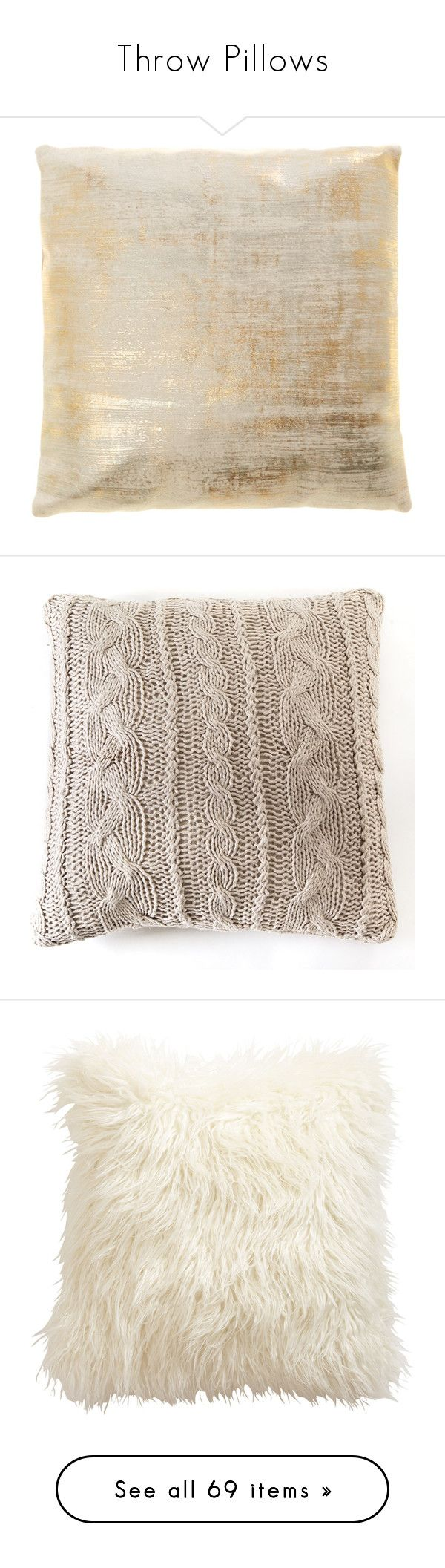 Throw Pillows by aimeewhitling on Polyvore featuring polyvore, home, home decor, throw pillows, pillows, sale, organic throw pillows, gold home accessories, gold accent pillows, gold throw pillows, gold toss pillows, bed & bath, bedding, bed accessories, furniture, plush bedding, pom pom at home, pom pom at home bedding, fillers, decor, backgrounds, ivory throw pillows, faux fur throw pillows, off white throw pillows, cream colored throw pillows, ethan allen, light grey, pleated bedding…