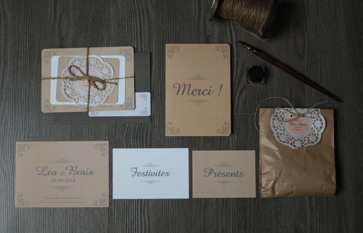 création sur-mesure  de la papeterie du mariage de L&B Organisation et scénographie du mariage Fêtes vous plaisir.