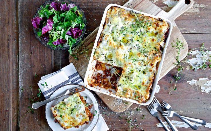 Lasagne met tomaten, cashew room en quorn gehakt