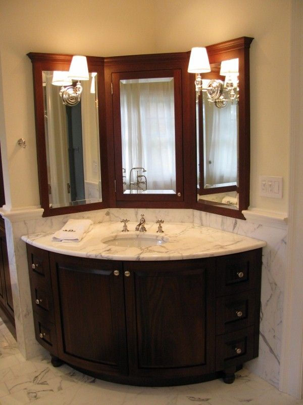 Corner Vanity ~ Http://lanewstalk.com/choosing A Corner Bathroom Vanity/ |  Bathroom Window Treatments To Note | Pinterest | Corner Bathroom Vanity, ...