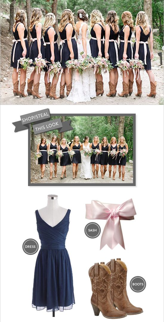 Steal this ultra cute bridesmaid look -cowboy boots, navy dresses with pink sashes. See where to get everything here  ---> http://www.weddingchicks.com/2014/08/28/navy-and-pink-bridesmaid/