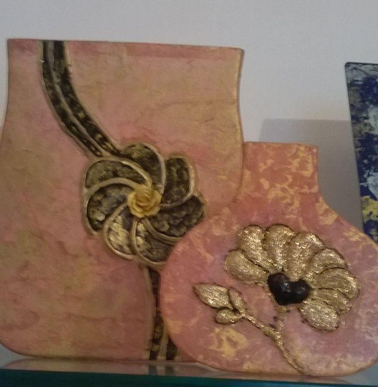 Set  portafiori in cristallo,ricoperti con carta di riso e applicazioni in oro