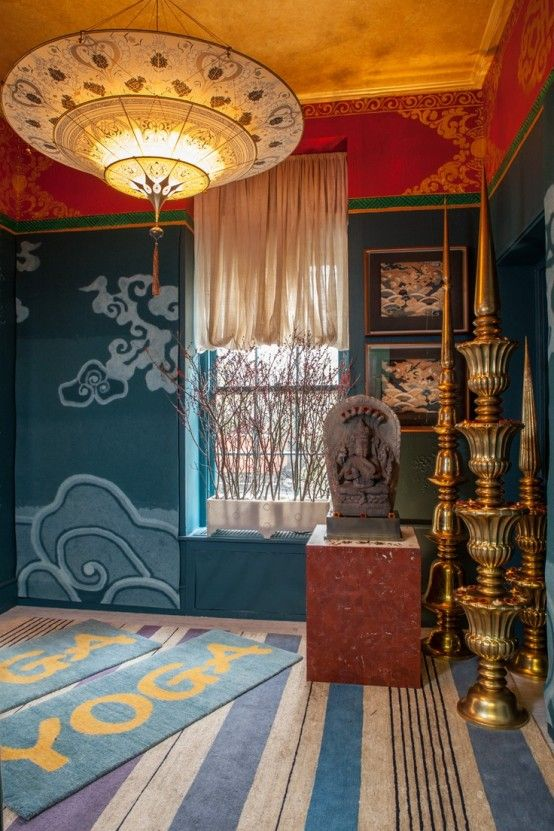 Minimalist Meditation Room Design Ideas With Chandelier Blue Carpet Wall