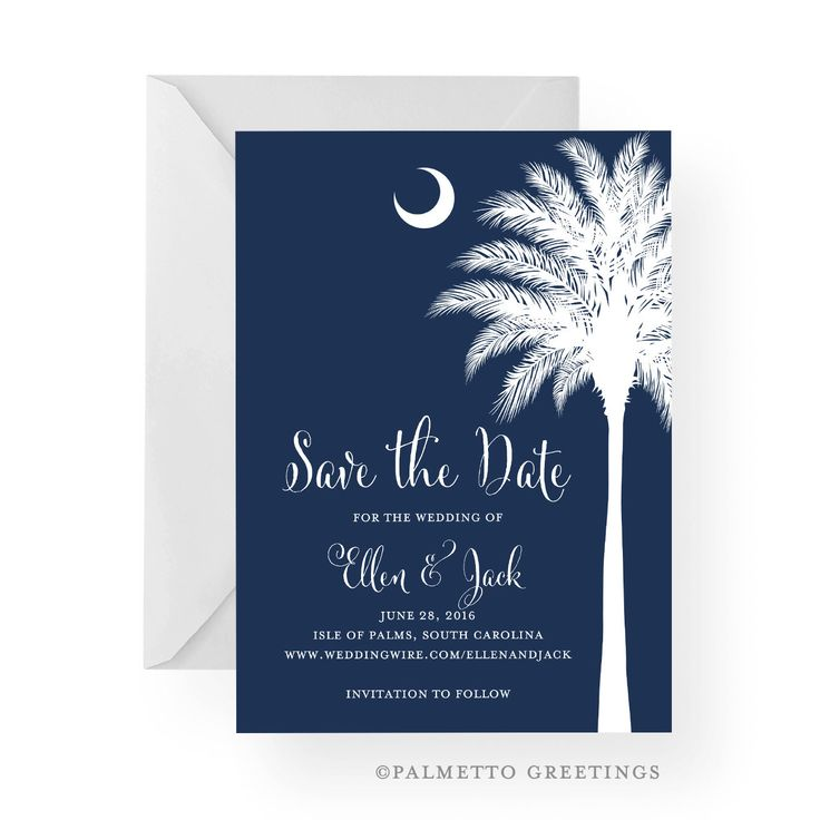 South Carolina Palmetto Moon Save the Date with Silhouette, Wedding, Engagement, Island Wedding, by Palmetto Greetings by PalmettoGreetings on Etsy https://www.etsy.com/listing/212547546/south-carolina-palmetto-moon-save-the