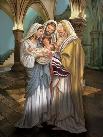 Presentation in the Temple--Joseph and Mary take the Infant Jesus, Simeon receives the Infant Jesus and offers him to God, according to Jewish law.