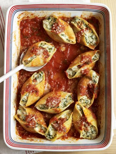 Sausage, Spinach, and Cheese Stuffed Shells. I'd probably use something other than sausage.