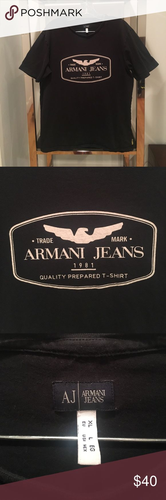 ARMANI JEANS LOGO PRINT T SHIRT Condition: Mint Fabric: 100% Cotton Designer: Armani Jeans Armani Jeans Shirts Tees - Short Sleeve