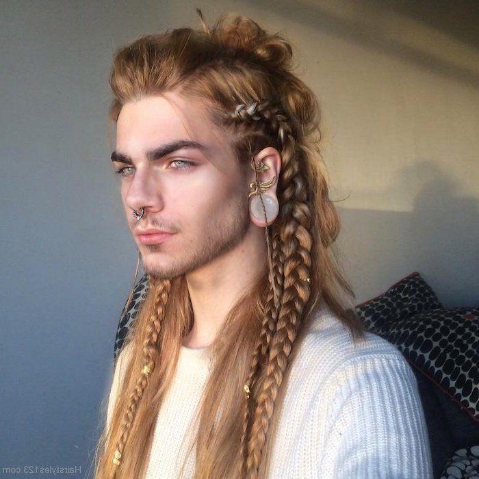 Blonde Long Hair Viking Braids Braided Hair Men Man With White Sweater Nose Ring In 2020 Viking Braids Mens Braids Hairstyles Long Hair Styles